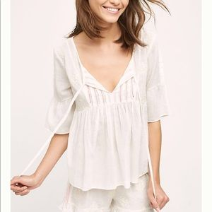 Anthropologie Eloise Embroidered Zoe Top